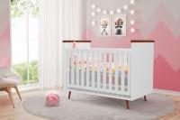 Baby Estilo - Linha Retro - Berco - Branco e Amadeirado - Ambiente_baixa
